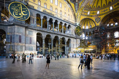 Nave of ancient basilica Hagia Sophia in Istanbul royalty free stock photography
