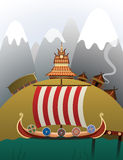 Nave anclada de Viking Imágenes de archivo libres de regalías