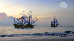 Nave antica che Voyaging durante l'alba immagini stock
