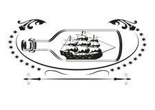 Nave antica nella bottiglia illustrazione vettoriale