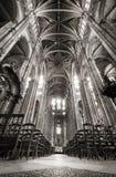 Nave avec les voûtes sautées, église de saint Eustache, Paris, France images stock