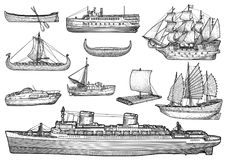 Nave, barco, colección, ejemplo, dibujo, grabado, tinta, línea arte, vector stock de ilustración