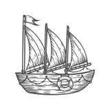 Nave, barco, velero, mano dibujada grabando el ejemplo náutico del vector del bosquejo Fotos de archivo
