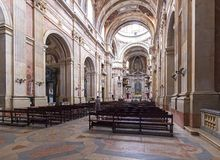 Nave of the Basilica of the Mafra National Palace. Stock Images