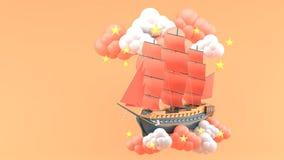 Nave blu con le vele arancio che galleggiano nelle nuvole e nelle stelle sui precedenti arancio illustrazione vettoriale