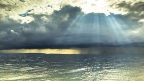 nave Buiige wind en stralen van zonlichtspruit door onweerswolken Timelapse /HD /25 fps stock videobeelden