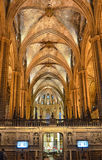 Nave of the cathedral of Barcelona Stock Image
