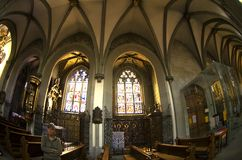 The nave of the cathedral  -   gothic  windows Stock Images