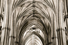 Nave and Ceiling at Bristol Cathedral Columns Impost and Keyston Royalty Free Stock Image