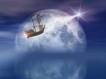 Nave chiara della stella e della luna Fotografia Stock Libera da Diritti