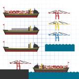 Nave con l'illustrazione di vettore delle gru Immagini Stock Libere da Diritti