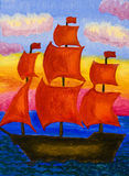 Nave con las velas rojas, pintando Imagen de archivo