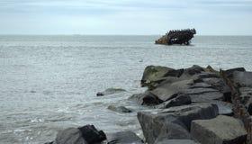 Nave concreta hundida de la costa de Cape May New Jersey SS Atlantus Imágenes de archivo libres de regalías