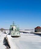 Nave congelata al bacino Fotografia Stock