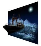 Nave d'affondamento alla notte in 3D Fotografie Stock Libere da Diritti