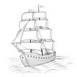 Nave d'annata con le vele ed il mare illustrazione vettoriale