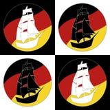 Nave d'annata Logo Sailing Boat Fotografia Stock
