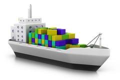 Nave da carico al porto illustrazione vettoriale