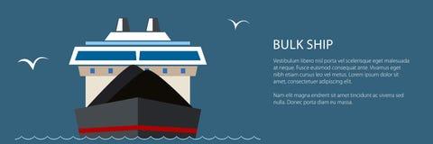 Nave da carico asciutta in mare, insegna illustrazione di stock