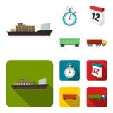 Nave da carico, cronometro, calendario, automobile ferroviaria Logistico, metta le icone della raccolta nel fumetto, azione piane royalty illustrazione gratis