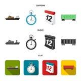 Nave da carico, cronometro, calendario, automobile ferroviaria Logistico, metta le icone della raccolta nel fumetto, il nero, sim royalty illustrazione gratis
