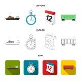 Nave da carico, cronometro, calendario, automobile ferroviaria Logistico, metta le icone della raccolta nel fumetto, il profilo,  illustrazione vettoriale
