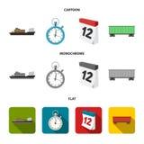 Nave da carico, cronometro, calendario, automobile ferroviaria Logistico, metta le icone della raccolta nel fumetto, vettore pian illustrazione vettoriale