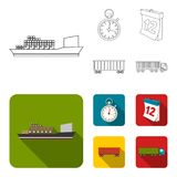 Nave da carico, cronometro, calendario, automobile ferroviaria Logistico, metta le icone della raccolta nel profilo, azione piane illustrazione di stock