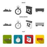 Nave da carico, cronometro, calendario, automobile ferroviaria Logistico, metta le icone della raccolta nel vettore nero, piano,  illustrazione di stock