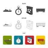 Nave da carico, cronometro, calendario, automobile ferroviaria Logistico, metta le icone della raccolta in nero, piano, simbolo d illustrazione vettoriale