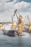 Nave da carico nel porto, La Valletta, Malta Immagine Stock