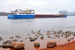 Nave da carico su Neva River Fotografie Stock