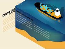 Nave da carico sul mare con lo spazio della copia Fotografia Stock