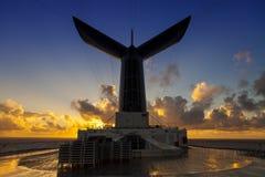 Nave da crociera al tramonto Immagini Stock Libere da Diritti
