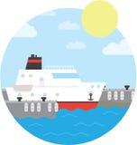 Nave da crociera nella porta Yacht su acqua Illustrazione di vettore di fondo rotondo Fotografia Stock