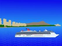 Nave da crociera a Waikiki Hawai illustrazione di stock