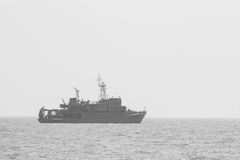 Nave da guerra in bianco e nero Fotografie Stock Libere da Diritti