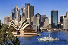 Nave da guerra di fine di Sydney CBD Coombs Fotografie Stock Libere da Diritti