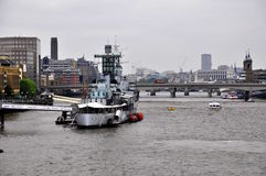 Nave da guerra di HMS Belfast Fotografie Stock