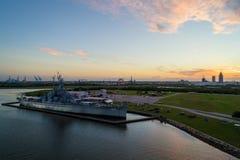 Nave da guerra di USS Alabama in baia mobile fotografia stock libera da diritti