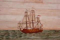 Nave da guerra dipinta su legno Immagine Stock