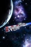 Nave da guerra e pianeta dello spazio illustrazione di stock