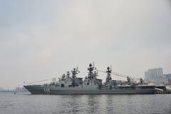 Nave da guerra nel porto Immagini Stock Libere da Diritti