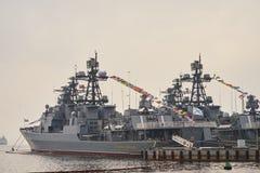 Nave da guerra nel porto Fotografie Stock Libere da Diritti