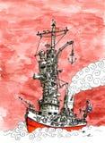 Nave da guerra rossa del cielo Immagini Stock