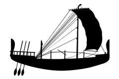 Nave dalla siluetta nera antica dell'egitto Fotografia Stock