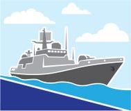 Nave de guerra stock de ilustración