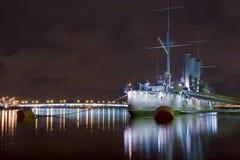Nave de la aurora en la noche Fotos de archivo libres de regalías