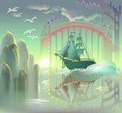 Nave de la fantasía en país de las hadas Imagenes de archivo