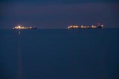 Nave de la noche en el mar Foto de archivo libre de regalías
